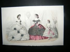 Englishwoman's Domestic Magazine C1859 Hand Col Fashion Print